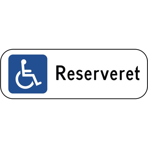 Handicapskilt Reserveret 20x60 cm - Parkeringsskilte