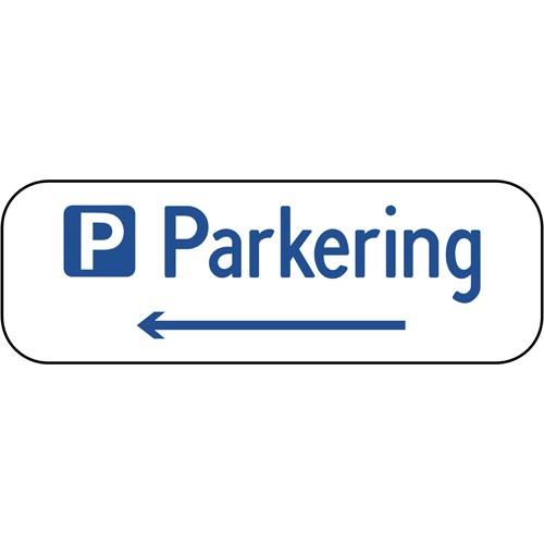 Parkering med venstre pil 20x60 cm Parkeringsskilte