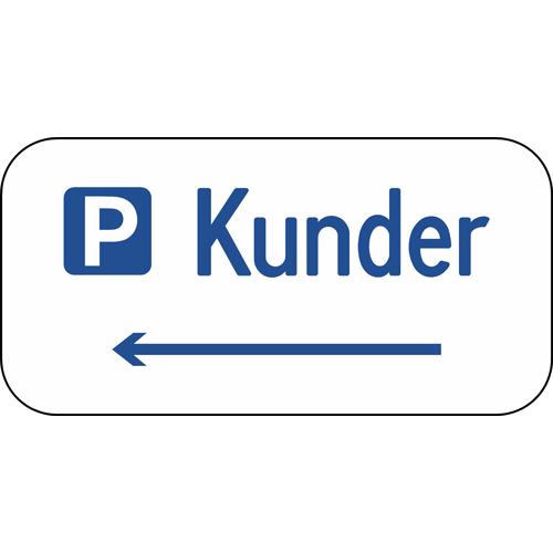 Parkeringsskilt Kunder med pil til venstre Aluskilt