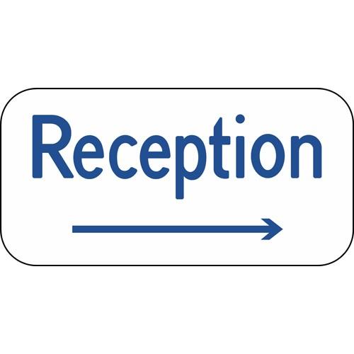 Reception med højre pil Aluskilt