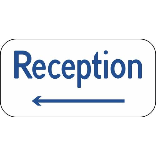 Reception med venstre pil Aluskilt