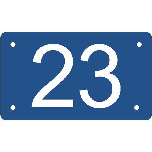 Husnummer skilt 7x12 cm blå
