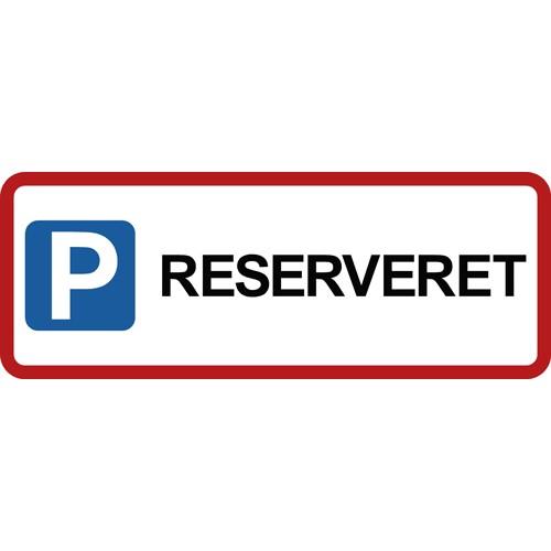 RESERVERET med pictogram 15x40 cm Parkeringsskilte rød kant
