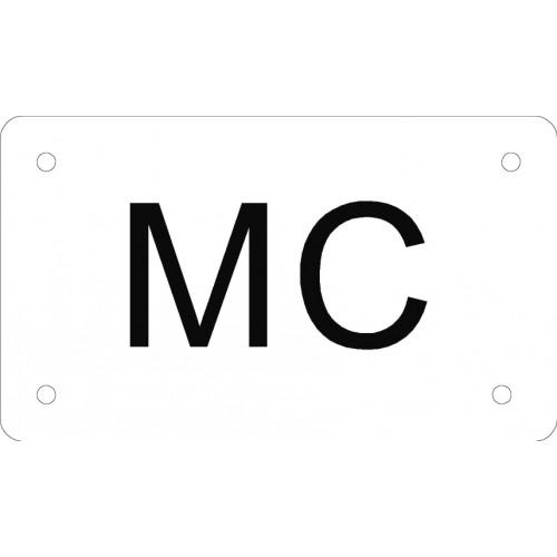 Aluskilt hvid 7x12 cm MC
