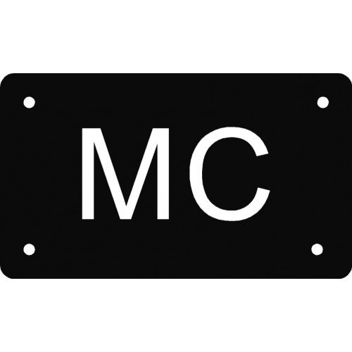 Aluskilt sort 7x12 cm MC