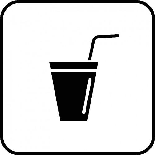 Glas med sugerør piktogram ASS-1
