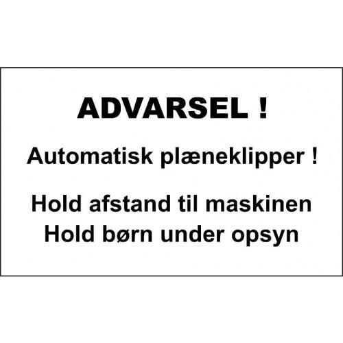 AUTOMATISK PLÆNEKLIPPER 30X50 CM ALUSKILTE-HVID/SORT-