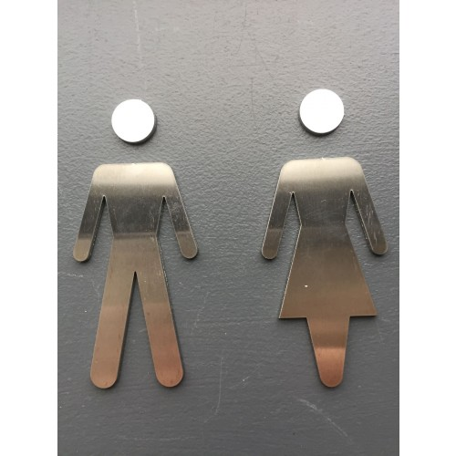 Toilet pictogram Dame/Herre i rustfri stål