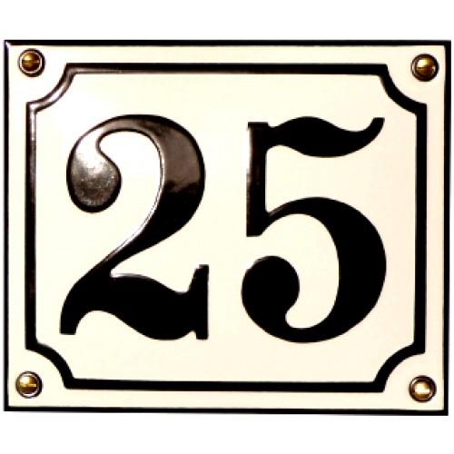 Emaljeskilt 10x12cm hvid-sort nummer 19