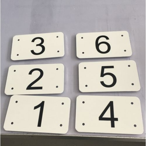 Husnummer skilt 7x12 cm hvid