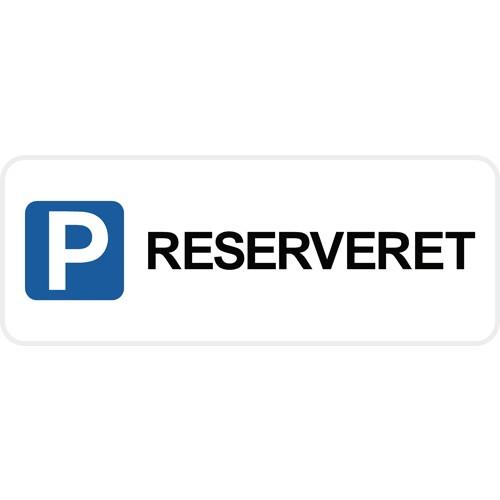RESERVERET med pictogram 15x40 cm Parkeringsskilte