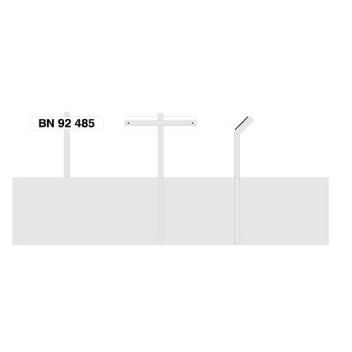 Parkeringsspyd DIN TEKST hvidlakeretskilt 10x40 cm