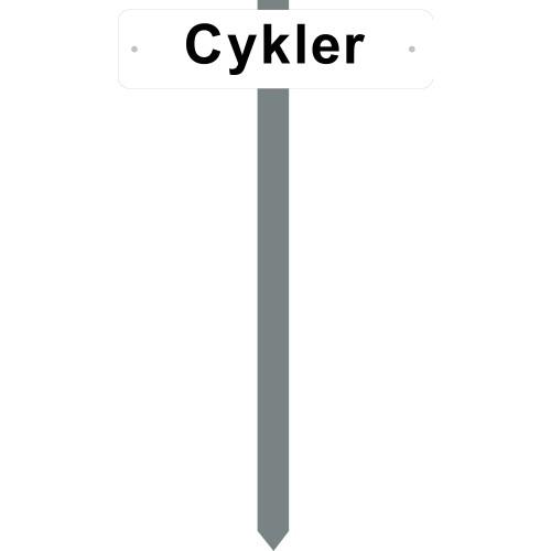 PARKERINGSSPYD Cykler HVIDLAKERET SKILT 10X40 CM