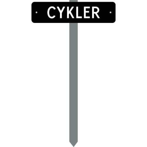 PARKERINGSSPYD CYKLER SORTLAKERETSKILT 10X40 CM