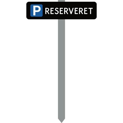 Parkeringsspyd RESERVERET sortlakeret skilt 10x40 cm
