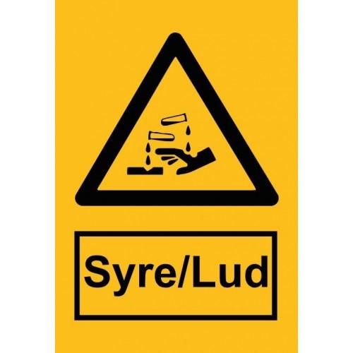 Syre Lud 30x20 cm (A4) Skilt