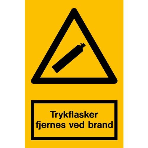 Trykflasker fjernes ved brand - Aluskilt 30x20 cm