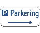 Parkeringsskilt med højre pil Aluskilt