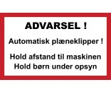 AUTOMATISK PLÆNEKLIPPER 30X50 CM ALUSKILTE-HVID / RØD / SORT