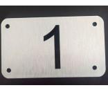 Husnummer skilt 7x12 cm BØRSTET ALU / SØLV