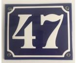 Emaljeskilt 10x12cm blå-hvid nummer 47