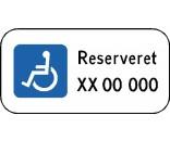 Handicapskilt med reg. nr. Aluskilt