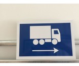 Lastbil højre pil Aluskilt 20x30 cm