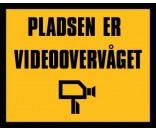 Pladsen er videoovervåget 40x50 cm GUL/SORT - Aluskilt