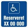 Handicapskilt reserveret reg nr 40x40 cm