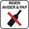 INGEN PAP AVISER FLASKER PIKTOGRAM SYMBOL