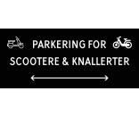Scooter & knallert parkering med dobbeltpil 30x70 cm skilte