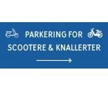Scooter & knallert parkering med højre pil 30x70 cm skilte