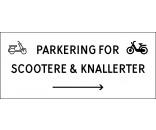 Scooter & knallert parkering med højrepil 30x70 cm skilte