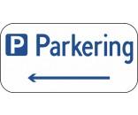 Parkeringsskilt med venstre pil