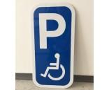 P Handicap skilt 40x20 cm hvid/blå