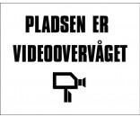 Pladsen er videoovervåget 40x50 cm HVID/SORT - Aluskilt