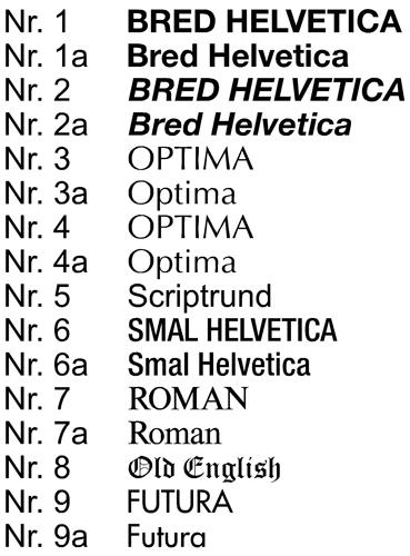 skrifttyper graverede skilte